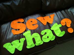 Sewwhat? chillin' on the couch before tomorrows fair.